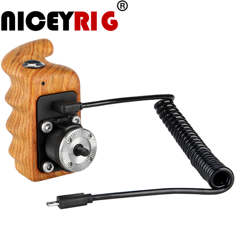 NICEYRIG Camera Handle Wooden Handle Grip Handle Grip Camera Cage Wooden Handgrip DSLR Cage ARRI Rosette Video ON OFF Right-Hand