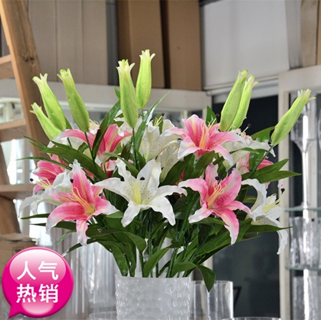Flower lily flower arrangement is placed on the ground living room flower lily flower arrangement is placed on the ground living room decoration decoration plastic silk flower mightylinksfo