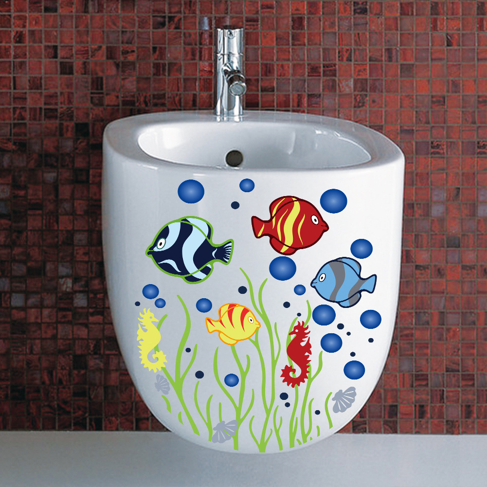 cute funny colorful Fish Bubble animals bathroom wash room toilet home decor wall stickers for kids room DIY shop office decal