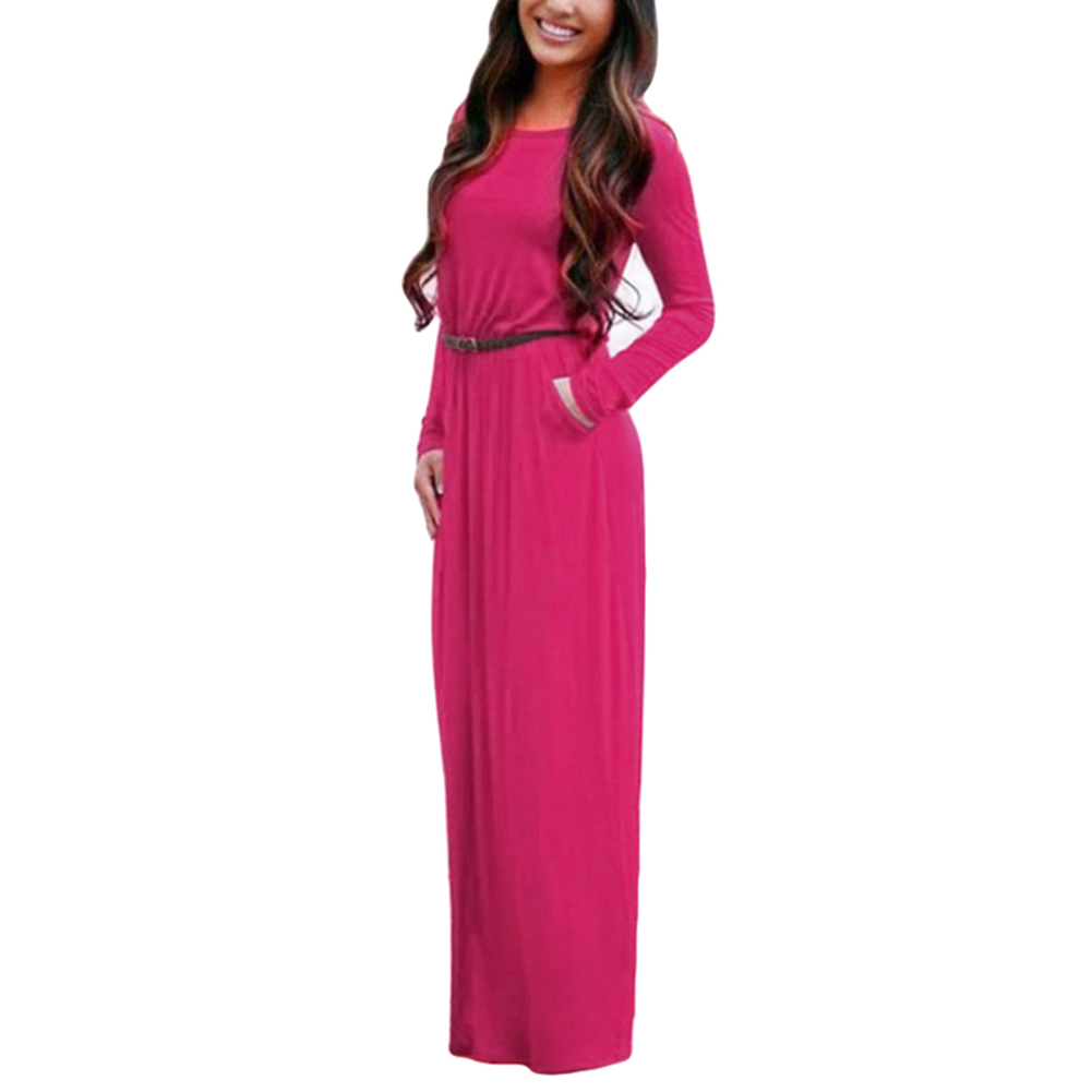 Long Sleeve Mixi Dress Elegant Women Summer Boho Spring Solid Casual Long Dresses Party Club Ladies With Pockets Vestidos
