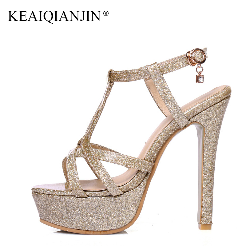 цены KEAIQIANJIN Woman Silvery Peep Toe Sandals Fashion Sexy Golden Pink High Heels Shoes Summer Red Open Toe Gladiator sandals 2018