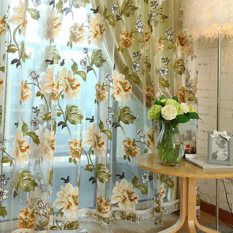 Fabric For Kitchen Curtain: Flower Embroidered Chinese Luxury 3D Window Curtains Fabric Tulle Sheer Curtains For Bedroom