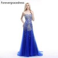 Forevergracedress Vraie Image Bleu De Bal Robe New Style Perlée Cristaux Tulle Longue Partie Formelle de Robe Plus La Taille