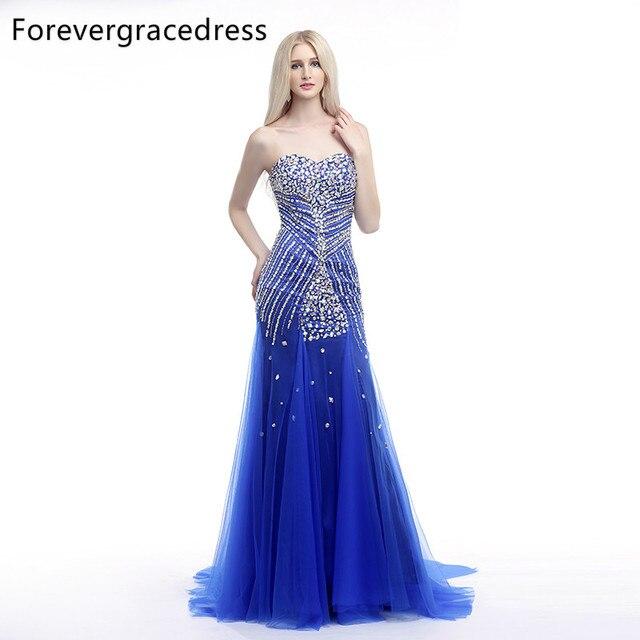 61250237c Forevergracedress imagen real vestido de fiesta azul nuevo estilo rebordeó  cristales tulle largo vestido formal del