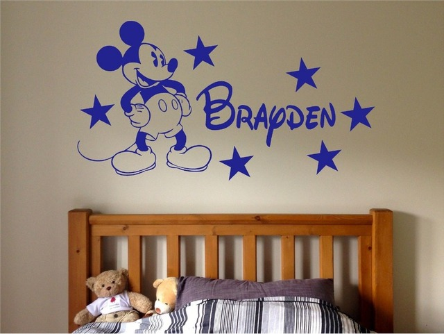 Personalized Mickey Mouse Name Decal Wall Stickers Home Decor Custom Baby Name Vinyl Sticker Nursery Boys Bedroom Mural JW157