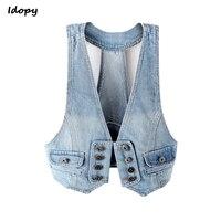 Idopy Women`s Summer Waistcoats Denim Vest Women Sexy Korean Style Halter Sleeveless Jean Jacket Female Slim Veste Femme Coat