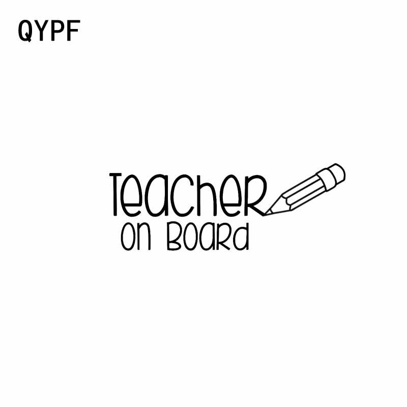 QYPF 12.7CM*4.8CM TEACHER ON BOARD Vinyl Car Motorcycle Sticker Decal Black Sliver C14-0218