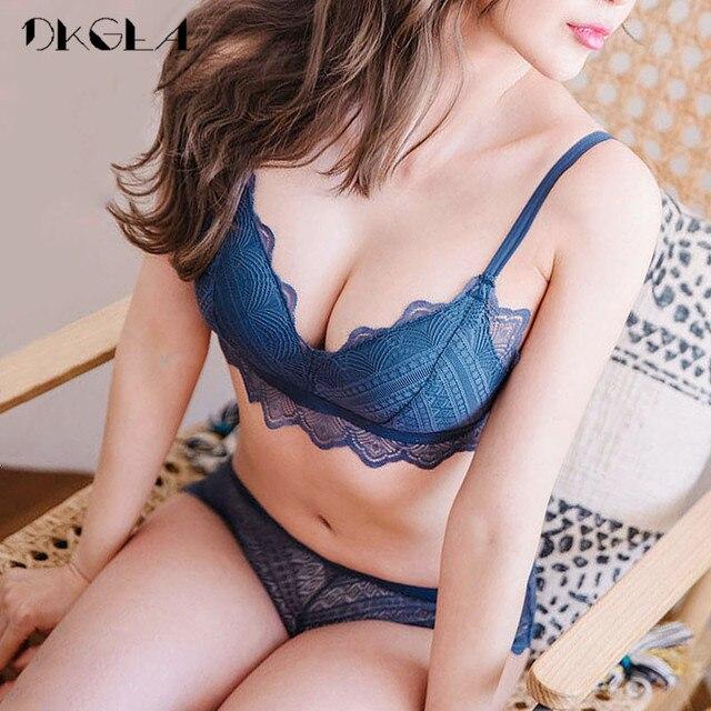 New Top Blue Bra Panties Set Lace Lingerie Thin Cotton  Brassiere Wire Free Embroider Bra Women Underwear Set Sexy Deep V Gather 4