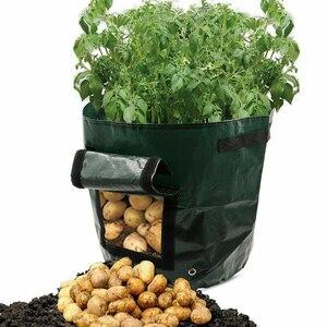 Image 2 - Plante végétale cultiver sac bricolage pomme de terre cultiver planteur PE tissu tomate plantation conteneur sac épaissir jardin Pot fournitures de jardin