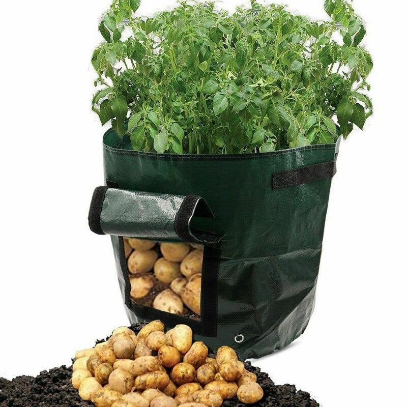 Image 2 - Vegetable Plant Grow Bag DIY Potato Grow Planter PE Cloth Tomato Planting Container Bag Thicken Garden Pot Garden Supplies-in Grow Bags from Home & Garden