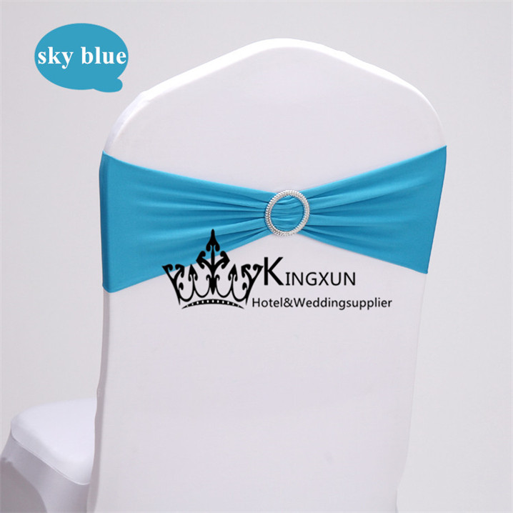 blue color wholesale price spandex chair cover band used for many kinds of wedding chair cover