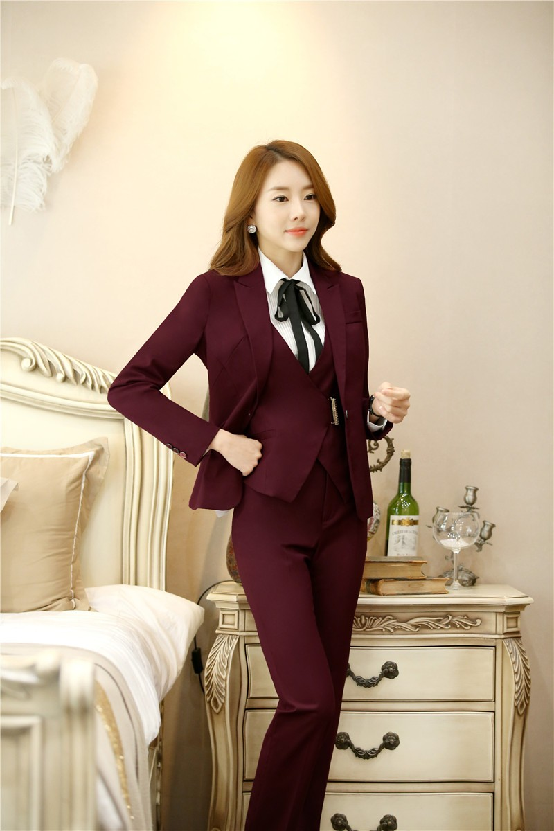 f8f5ef2c03f54 Hot Selling Peak Lapel Burgundy Custome Made Women New Arrival High Quality  One Button Business Suits Autumn Winter Fashion Suit