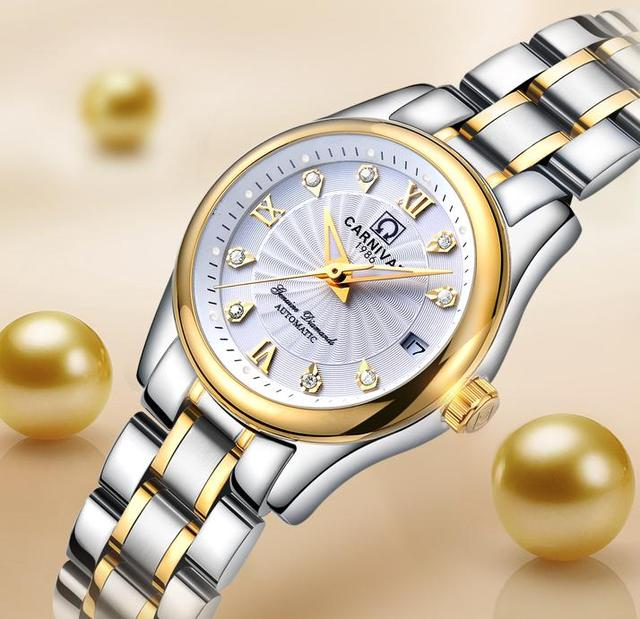 Carnival Women Automatic Watch Brief With Rhinestone Date Luxury Mechanical Watch Women Dress Watch Small Dis 26mm