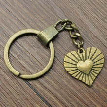 Keyring Double Sided Heart In Heart Keychain 24x23mm Antique Bronze Double Sided Heart In Heart Key Chain heart