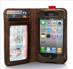 Best Selling 100% cow Leather case for Iphone 4 g 4s  the best style case  for Iphone Accessories wallet new style Free shipping