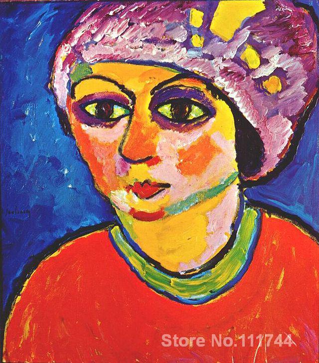 Abstrato moderno pintura da arte Violeta Turbante Alexej Von Jawlensky pintados à Mão de Alta qualidade