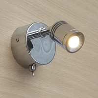 Topoch Bedroom Wall Reading Light Rotational Built in Driver 100 240V/12/24V Grooved Cylindrical Head Focusing Lens Chrome Color