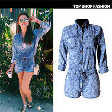 Long Sleeve Womens Jumpsuit Summer Female Denim Jumpsuit Shorts Women Jeans Overalls Jumpsuits, Playsuits & Bodysuits TPS211#