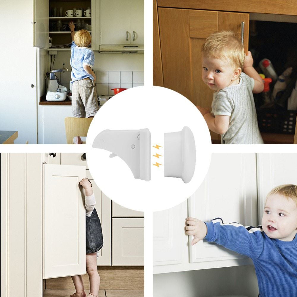 Image 5 - 10Locks 2 keys Baby Safety Magnetic Locks Set Child Kids Protection Cabinet Door Drawer Locker Security Cupboard Childproof Lock-in Fridge Magnets from Home & Garden