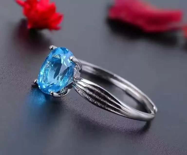 Jewelry & Accessories Rings Wedding Rings 925 Sterling Silver Rings For Women Blue Topaz Ring Fashion Gift Jewelry 100% 925 Sterling Silver Ring J060801agb A Complete Range Of Specifications