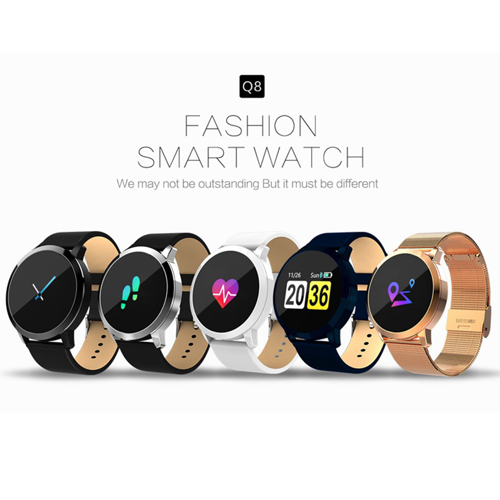 2018 Newest Vwar Q8 OLED Color Screen Watch Drink reminder Call Reminder Blood Pressure Heart Rate Smart Watch for Android iOS