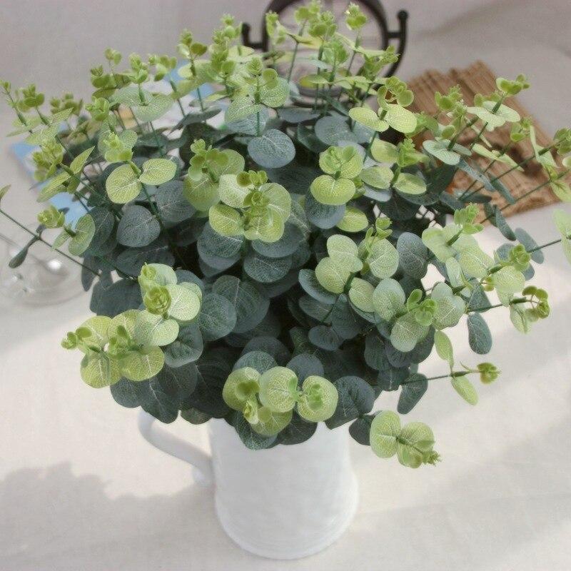 1 UNID Verde Planta Artificial de Seda de Flores Hojas Redondas Arreglo Floral A