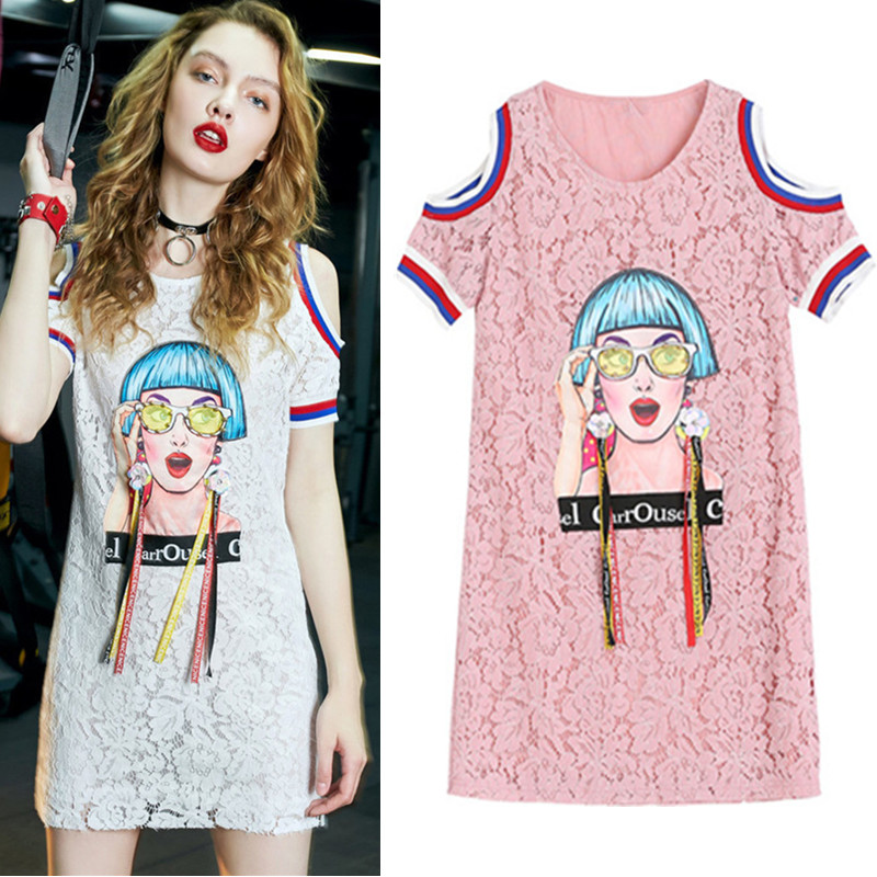 New Woman Summr Lace Dresses Ladies Beadings Floral Appliques Mini Dress Party Pink Young Casual Beautiful Ladies Dresses NS720