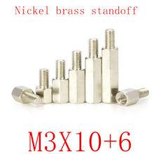 500 шт m3x10 + 6 штыревые к женскому никелевый латунный противостоящий разделитель M3 шестигранные шпильки разделительные столбики