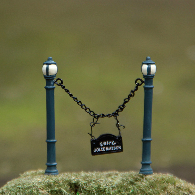 2pcs jolie maison resin craft street lamp fence garden gnome ...