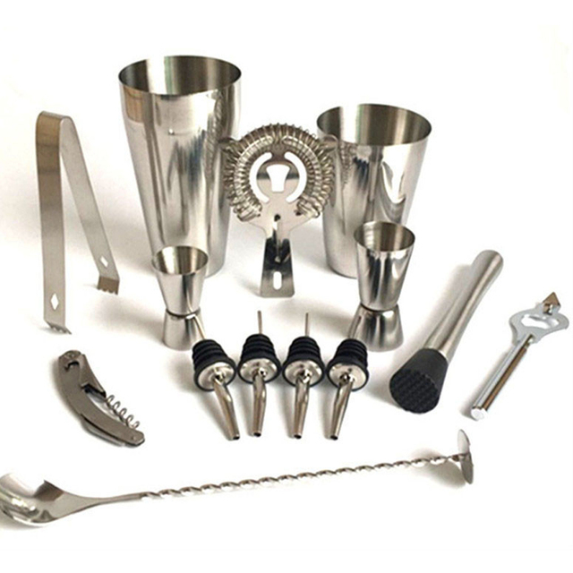 Premium Shaker Barware Set   13 Pieces Bartender Kit Includes Shaker ,  Rack, Spoon, Pourer, Straw U0026 Ice Tong Cocktail Shaker