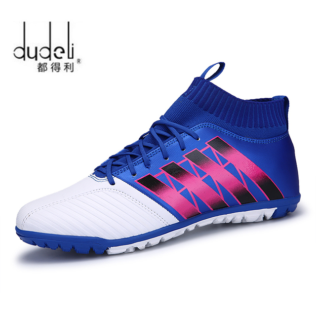 6800bad418 DUDELI Men s Soccer Shoes TF Futsal Hard Court Turf Football Boots Indoor  Sock Cleats Trainer Cheap