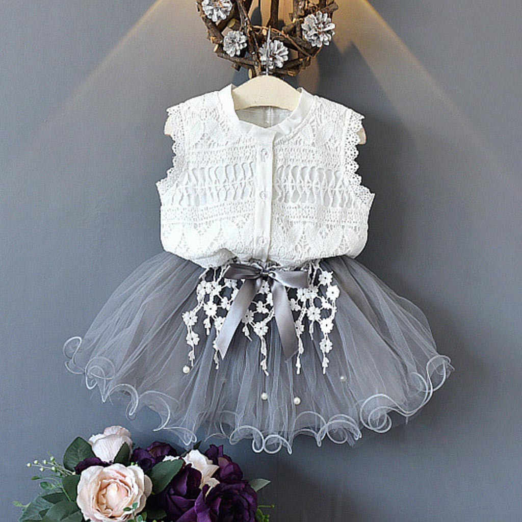 Toddler Kids clothes 2PCs Baby Girls Outfits Clothes Lace Shirt+Bowknot Tulle Skirt 2PCS Set costume for girlsroupas meni