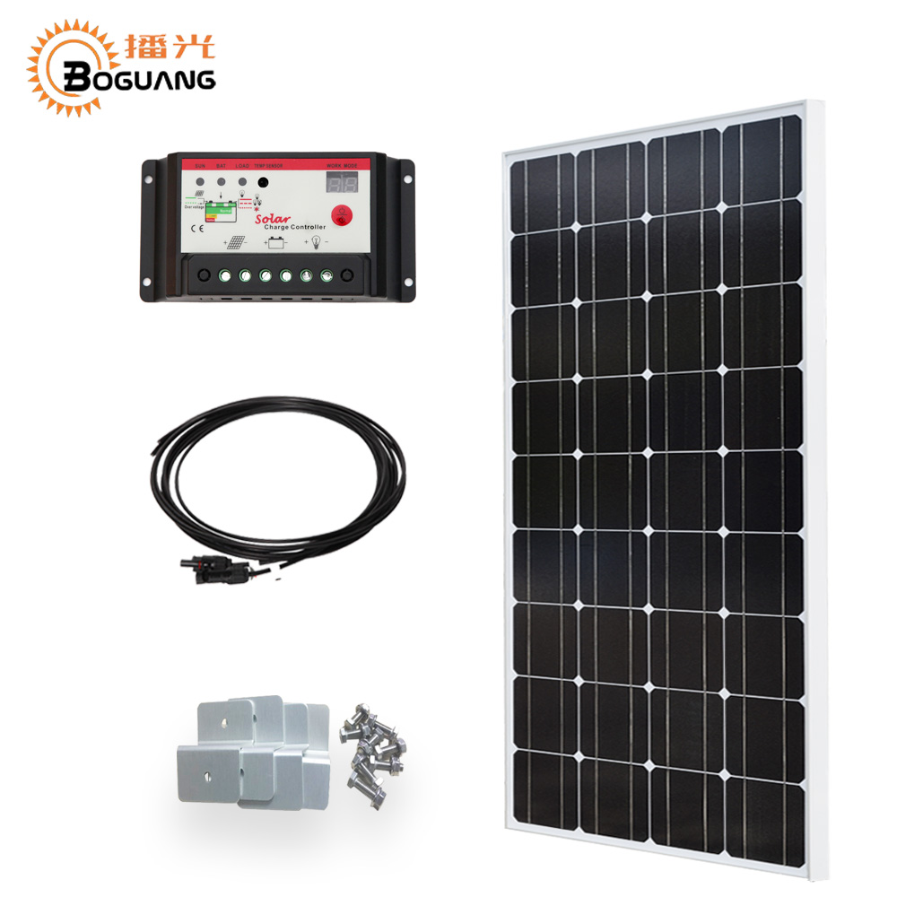 Boguang 100w solar panel  photovoltaic module Monocrystalline silicon cell 10A 12v24 controller MC4 connector for power charger
