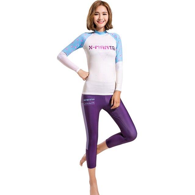 c4ce2c67e2 Dive Sail women rashguard shirts suit cropped pants surf skin dive girls  swimsuit