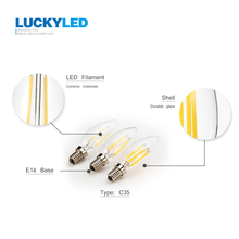 LUCKY LED Candle Bulb E14 2W 4W 6W AC 220V 110V Retro antique Glass Edison Lamp Vintage C35 Filament Light 360 Degree