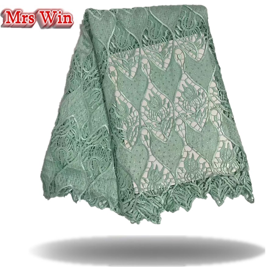 Light green tree pattern lace High Quality African Lace Fabric Latest lace fabrics with beads Hot Sale Nigerian Lace For Dress