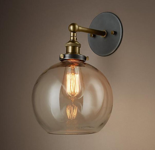 Loft Vintage Nostalgic Industrial Lustre Ameican Glass Round Ball Edison Wall Sconce Lamp Bathroom Home Decor Lighting Fixture loft vintage nostalgic industrial lustre water pipe edison wall sconce lamp resturant hotel bar stair home decor modern lighting