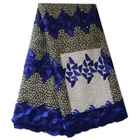 Ourwin Embroidery African Fabric Lace Royal Blue Bridal Lace Fabric with Beads Stones Net Lace Fabric 2019