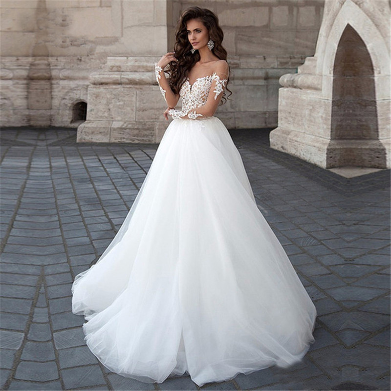 Long Sleeve Wedding Dress 2019 New Tulle With Lace Appliques Illusion Bridal Gown Ball Gown Summer Wedding Dresses Custom Made