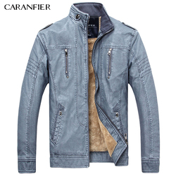 CARANFIER 2017 New Men Casual Motorcycle Jacket PU Leather Outerwear Mature Businessmen Style Zippers Motorcycle Jacket Coats
