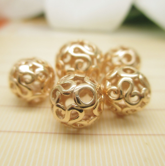Rose gold sculpture Hollow out Ball beads 8 12mm 20pcs for jewelry