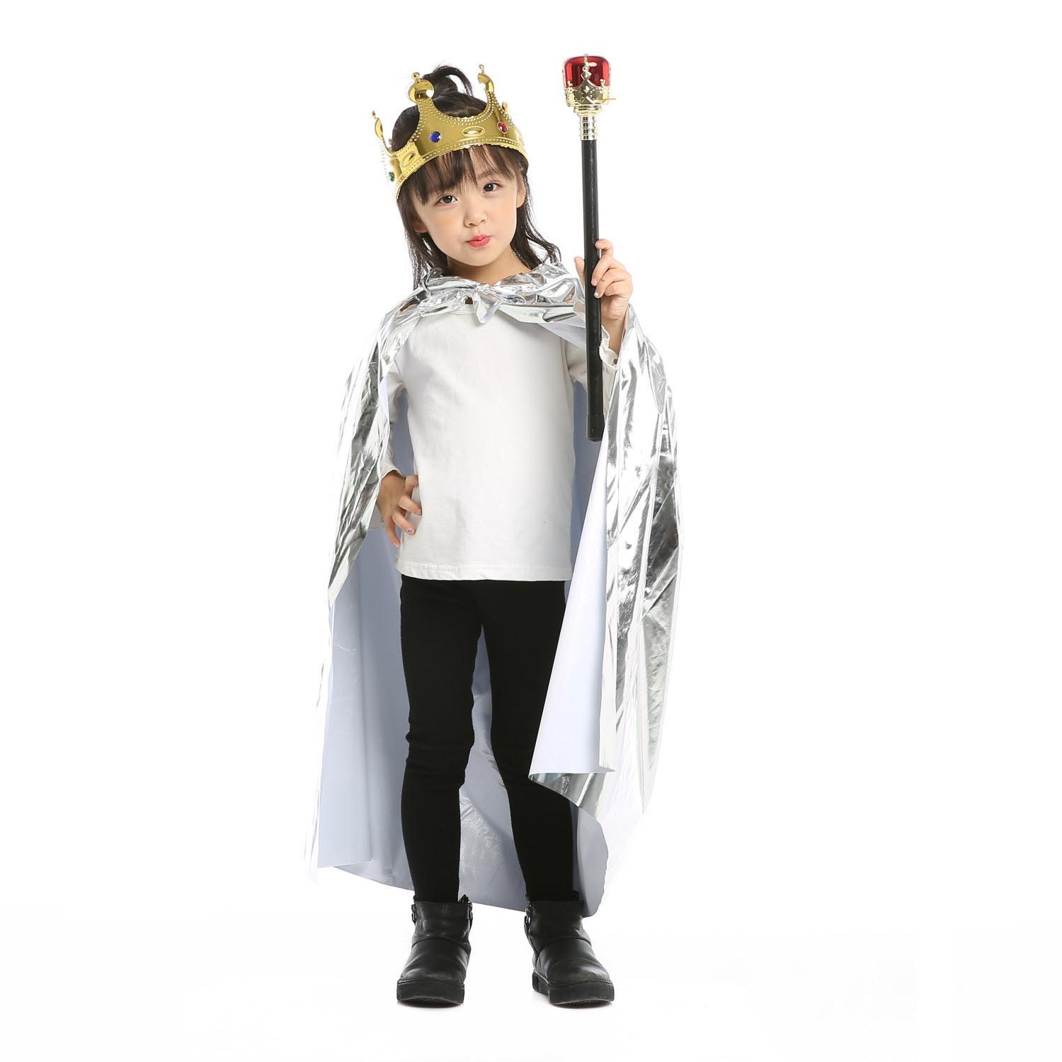 Girl Kids Cloak King Cape Queen Princess Role Play Props Cosplay Crown Sceptre Party Supplies Costume Halloween Christmas