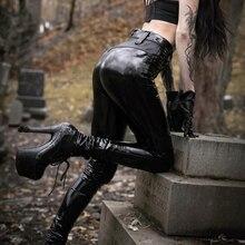 дешево!  Imily Bela Сексуальные кожаные леггинсы из искусственной кожи Готические брюки-карандаш с высокой  Лучши