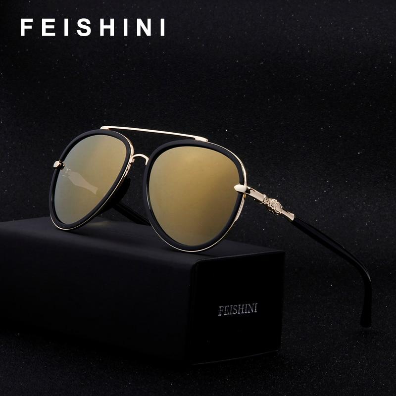 O Monopólio do Mercado FEISHINI Alta Qualidade Espelho Aviador óculos de Sol  Das Senhoras Das Mulheres Ouro Rosa Anti-Reflexo HD Limpar Óculos De Homens  ... a8698818a7