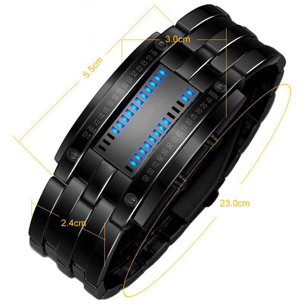 Luxury LED Electronic Blue Binary Watch Men Luminous Sports LED Watch Women Men Stainless Steel Digital Watch 21