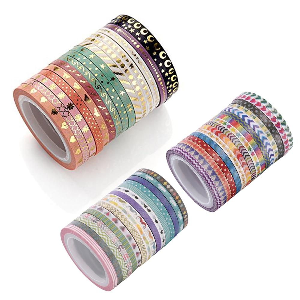 AAGU 16PCS/Lot Slim Foil Washi Tape Scrapbooking Decorative Adhesive Paper Tape Set Masking Tape Skinny Sticker DIY Paper Tapes