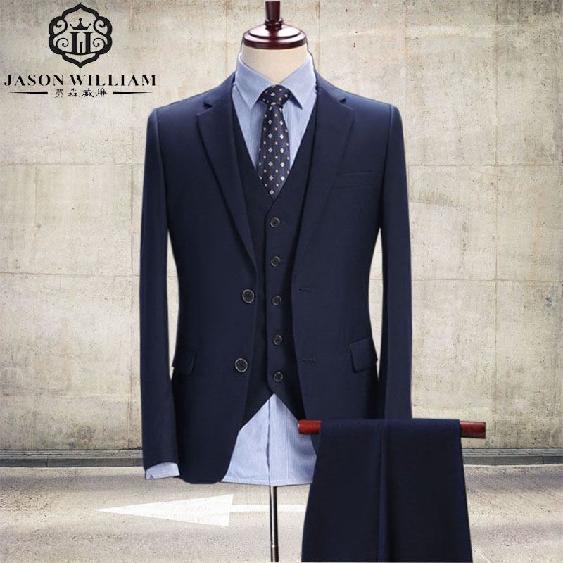 Jason William Men Suit Navy Blue Slim Fit