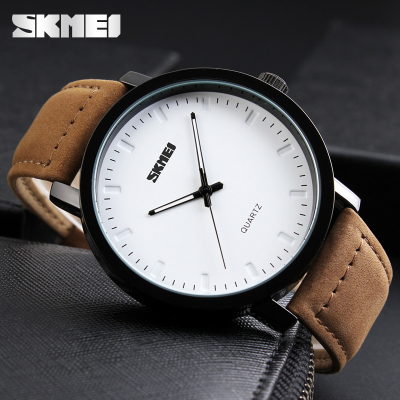 SKMEI Brand Luxury Men Watch Fashion Casual Watches Relogio Masculino Genuine Leather 30m Waterproof Mens Quartz Wristwatches forsining fashion brand men simple casual automatic mechanical watches mens leather band creative wristwatches relogio masculino