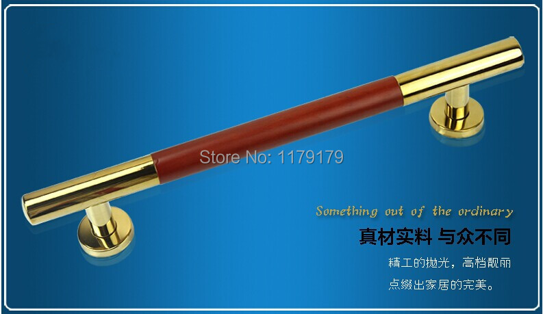 400mm  304  bright  gold+red stainless steel  with walnut  wooden door pull  wooden door accessories hardware TC1028