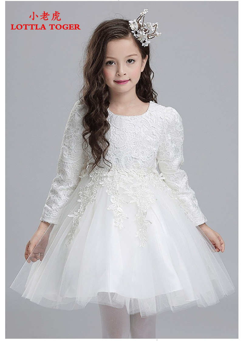 80384f493 Summer Girls Lace Bow Dresses Baby Beige Pink Lace Korean ruffle ...